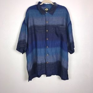 Tommy Bahama Blue & Navy Striped Linen Shirt